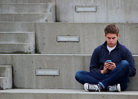 Texting, Boy, Teenager, Sitting, Outdoor