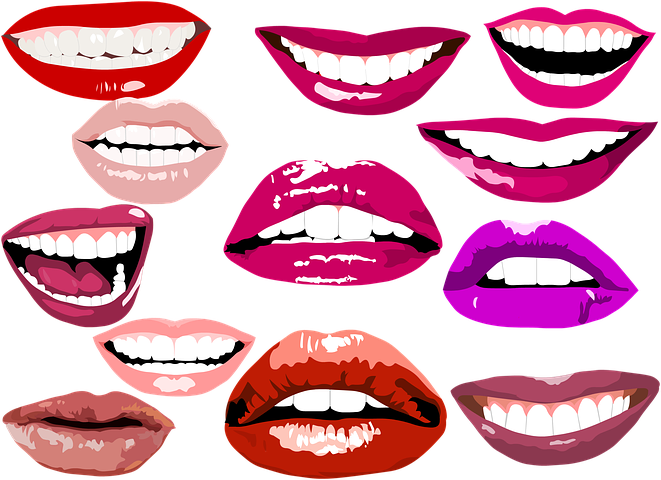 Улыбка с зубами рисунок