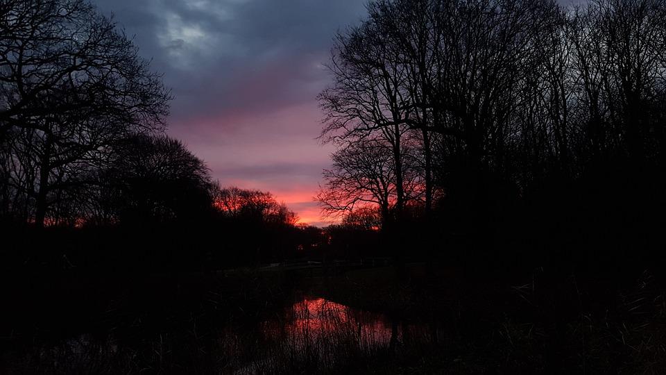 Sunrise Dark Light Night Evening Nature Road