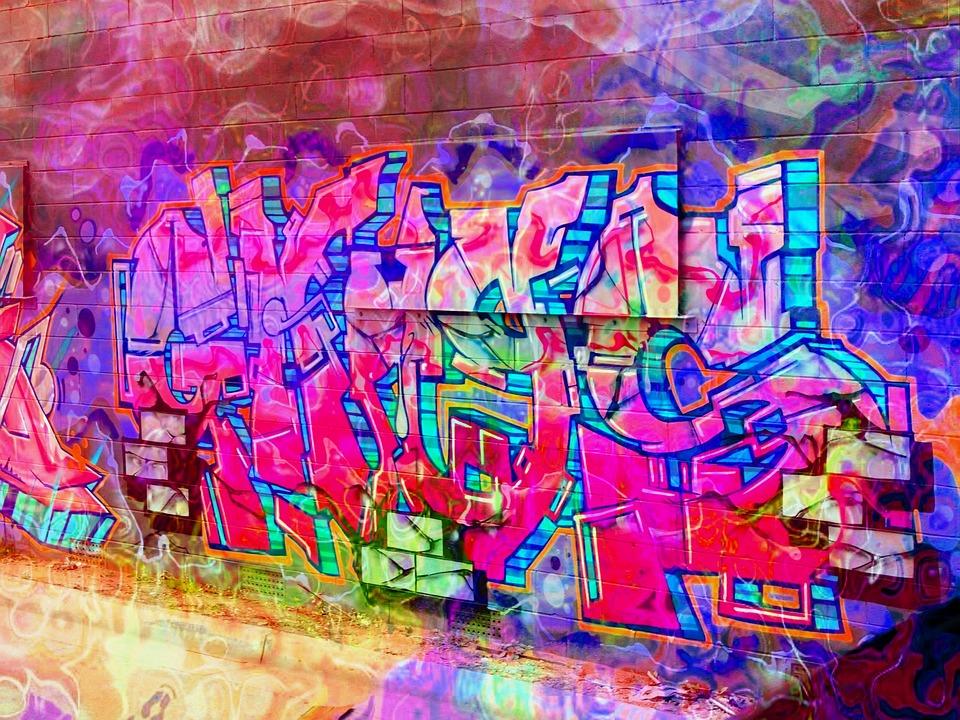 graffiti ladrillos rosa la pared