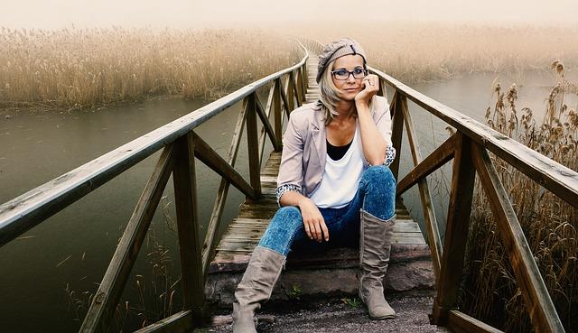 ブリッジ, 川, モデル, 女性, 水, 木材, 美しさ, メガネ