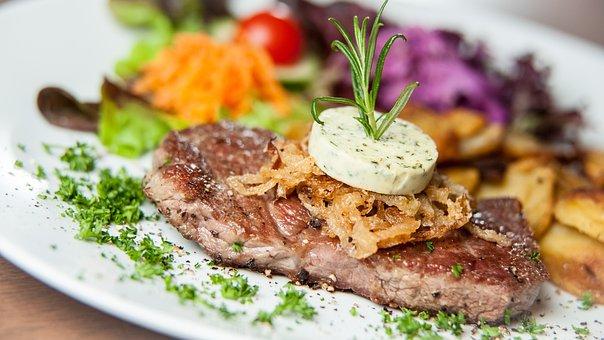食べる, ステーキ, 肉, グリル, 牛肉, おいしい, プレート, ダイン