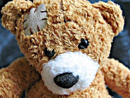 Bear, Teddy Bear, Injury, Game, Mood
