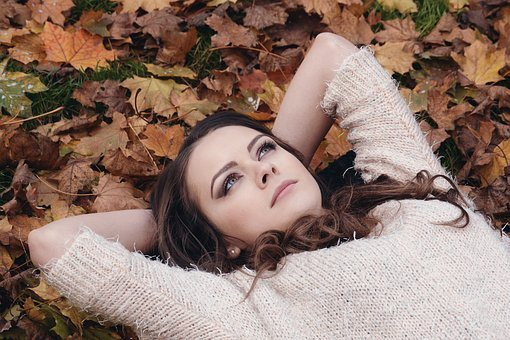 Woman, Beautiful, Girl, Lying, Leaves