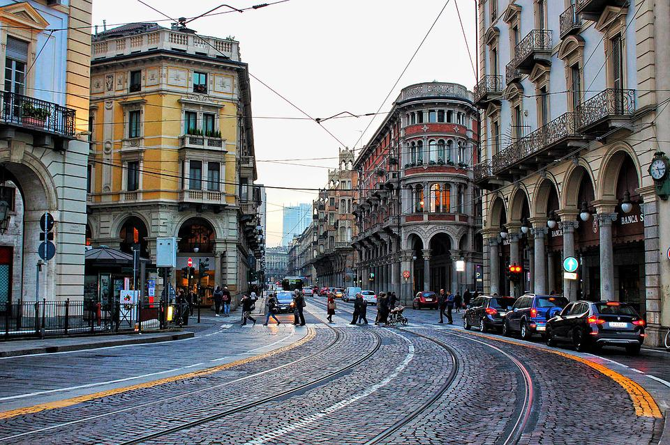 Torino City Italy Downtown Architecture Road