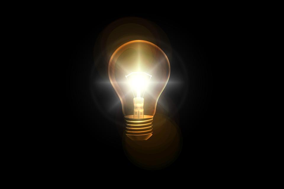 電球, 思う, アイデア, ソリューション, 問題の解決策, 光, 輝きます, 光線, 思考, 創造的です