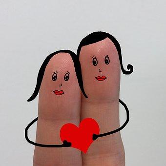Dedos, Dibujo, Amor, Pareja, Corazón