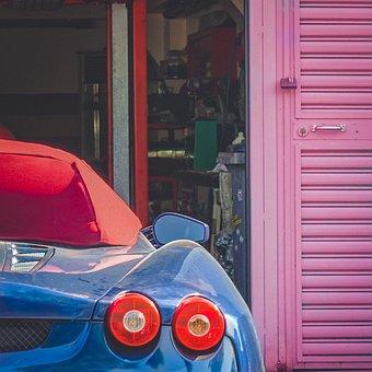 Ferrari Blue Garage Industry Sports Car Fe