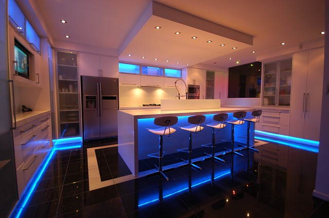 Free photo kitchen lighting modern free image on for Domestic bar design