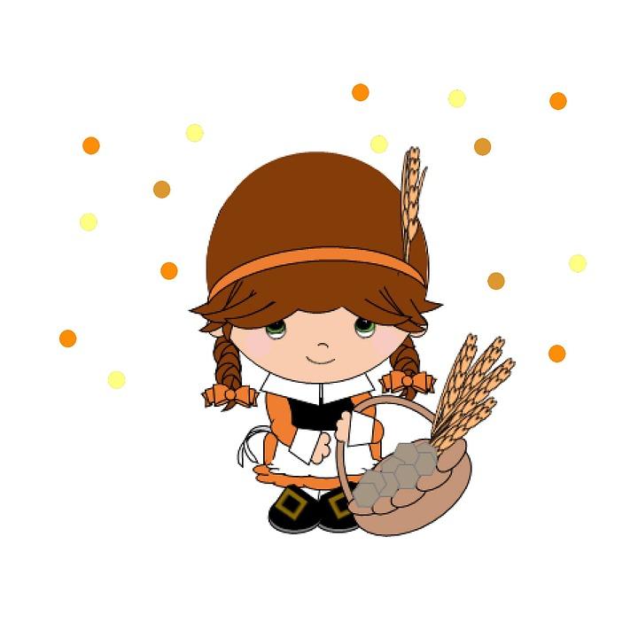 Pilgrim, Girl, Thanksgiving, Holiday, Celebration