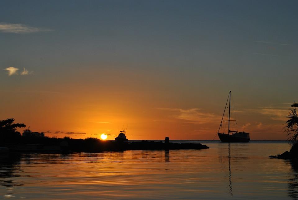 Sunset, Caribbean, Sea, Yacht, Beach, Dominica