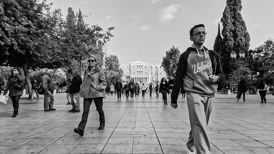 Black And White Street Walking Syntagma Athens