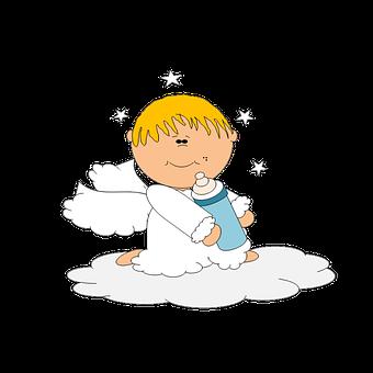 Angel Baby Bottle Cute Sweet Cartoon Child
