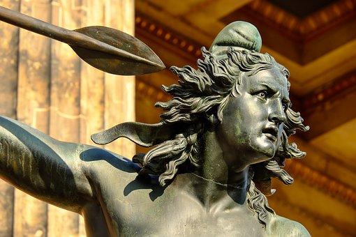 Sculptuur, Brons, Vrouw, Amazone