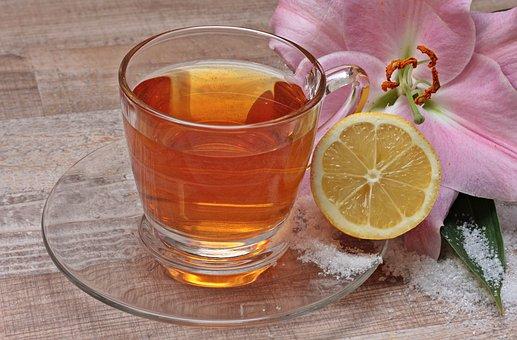 ティー, レモン, 花, ユリ, 免疫システム, 防ぐ, 冬, 健康, ビタミン