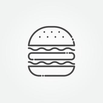 ハンバーガー, アイコンを, 高速, 肉, 昼食, 記号, サンドイッチ