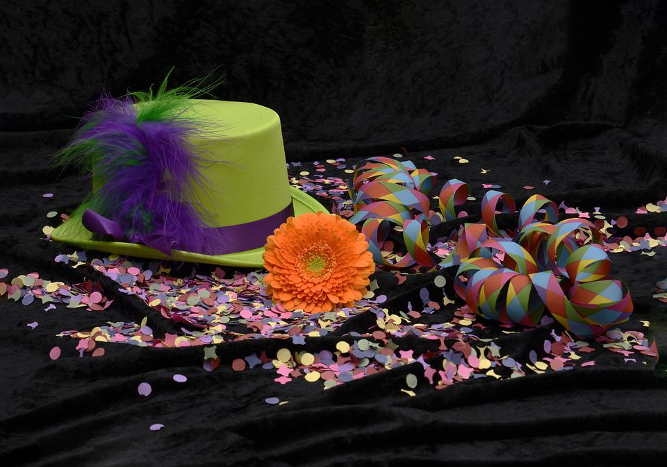 Sombrero, Hat, Pluma, Confeti, Flámula, Colorido
