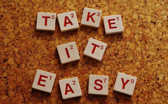 のんびり, 心配なし, 奨励します, 単語, 文字, テキスト, モチベーション