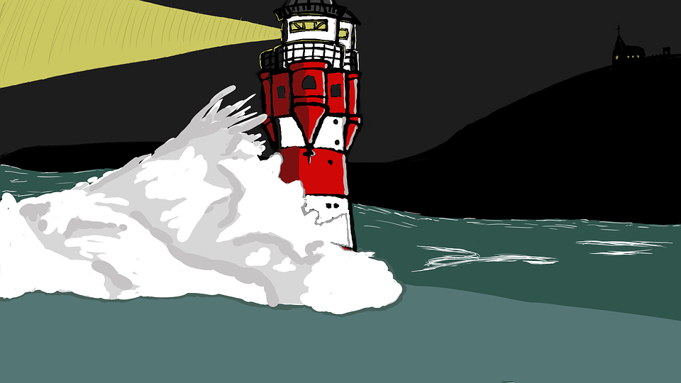 Mercusuar Malam Badai Garis Gambar Gratis Di Pixabay
