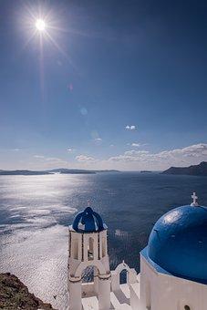 Santorini, Greece, Midday Sun, Blue Dome