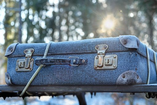 Bagage, Frost, Rejser, Sollys, Kuffert