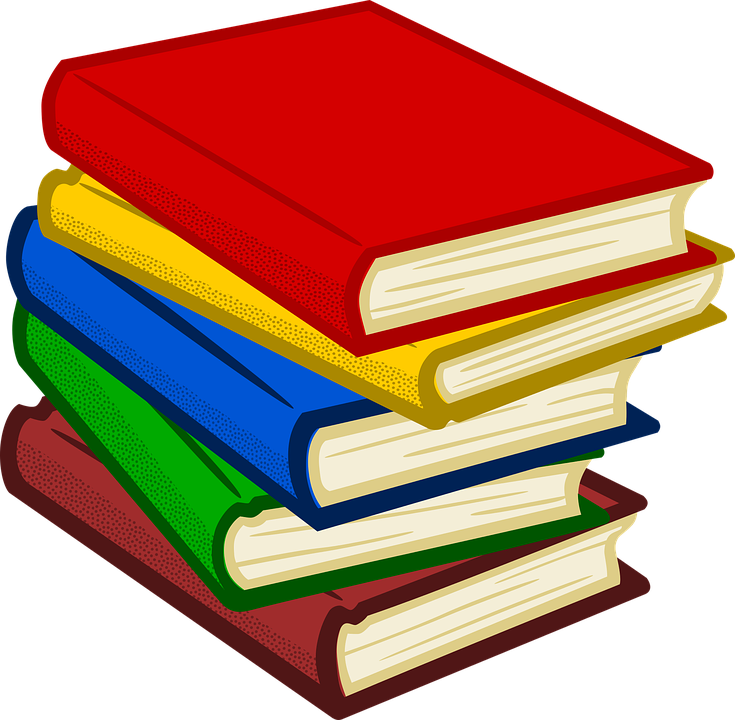 stack of colorful books clipart