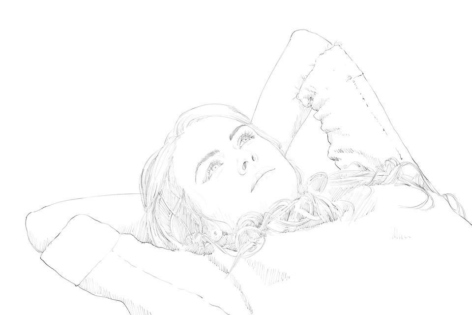 Line Art Free : Girl beautiful drawing · free image on pixabay
