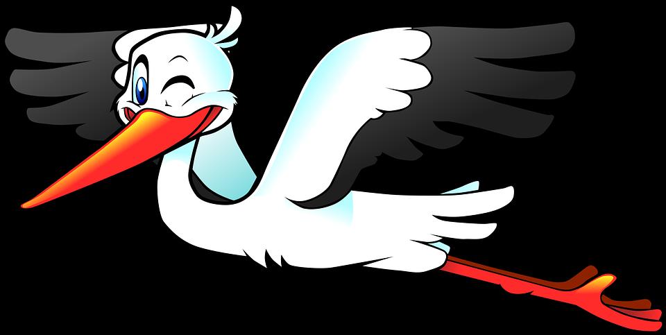 Storch, Vogel, Fliegen, Flügel, Anthropomorphe, Cartoon