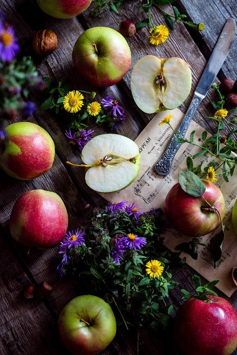 Pommes, Jardin, Bureau En Bois, Nature Morte