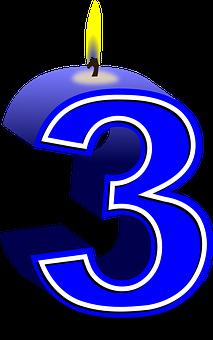 番号, 3, キャンドル, 誕生日, 祝賀会, 周年, 桁, 青