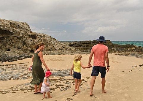 Familia Playa Diversión Verano Madre Mar P