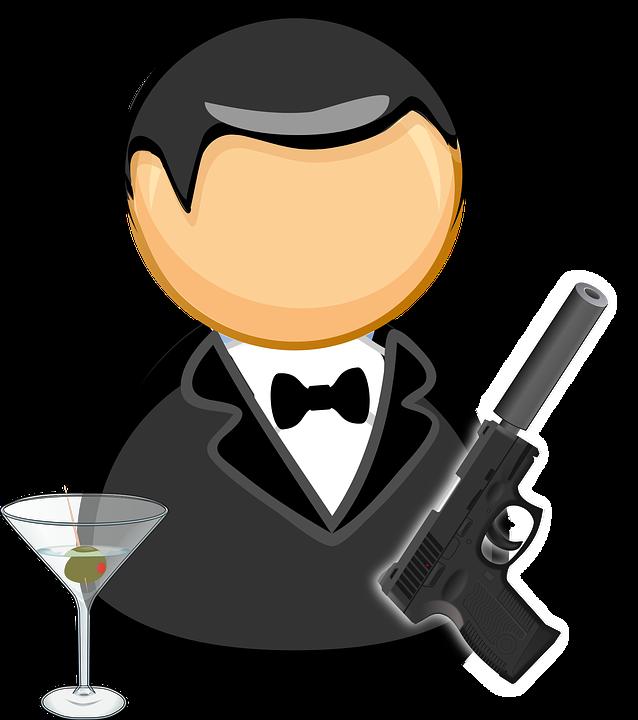 ジェームズ ・ ボンド, エージェント, 黒のスーツ, 蝶ネクタイ, マンガのキャラクター, 犯罪, ガラス