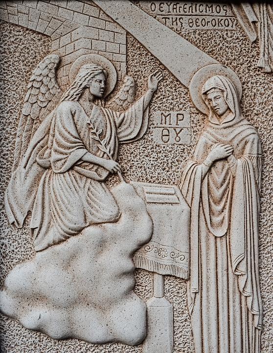 Engraving, Annunciation, Virgin Mary, Angel, Wall