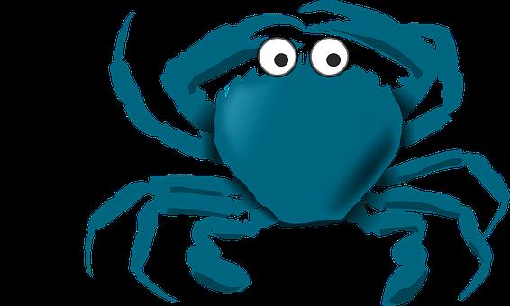 Blue Cartoon Crab Sea Stuff Crab Crab Crab