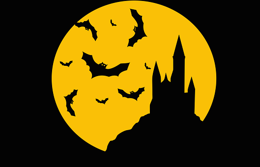 Bats, Castle, Evil, Flying, Full Moon