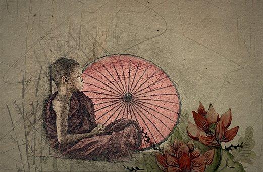 Junge, Sitzen, Schirm, Asiate, Mönch
