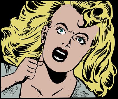 ホラー, レトロ, 悲鳴を上げる, 叫び, 女性