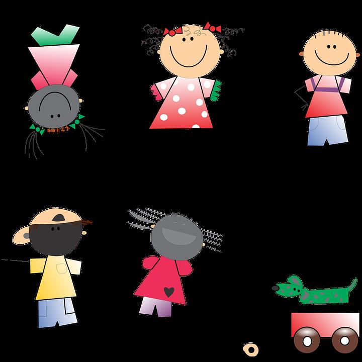 Junge, Kinder, Mädchen, Strichmännchen