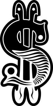 Black Black White Dollar Sign Gamblin