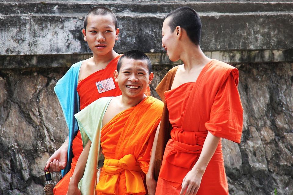Monks, Happy, Walking, Laos, Luang Prabang, Local