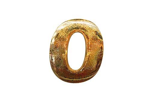 Ноль, Число, Цифра, 0, Золотой, Стекло