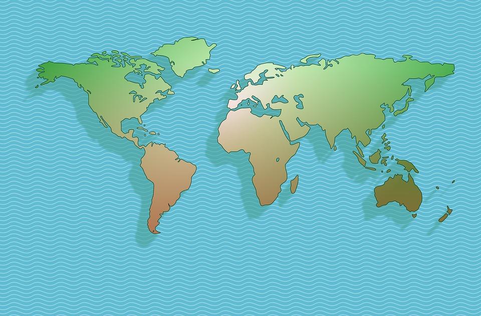 地図, 世界をマップします。, 世界, 地球, 地理, 大陸, 青, 海, 地域, Graphisms