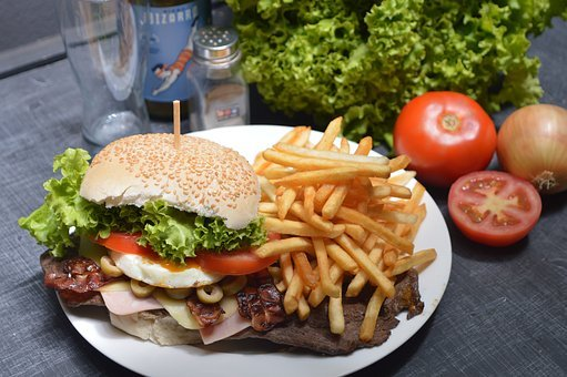 Burger, French Fries, Potato Chips