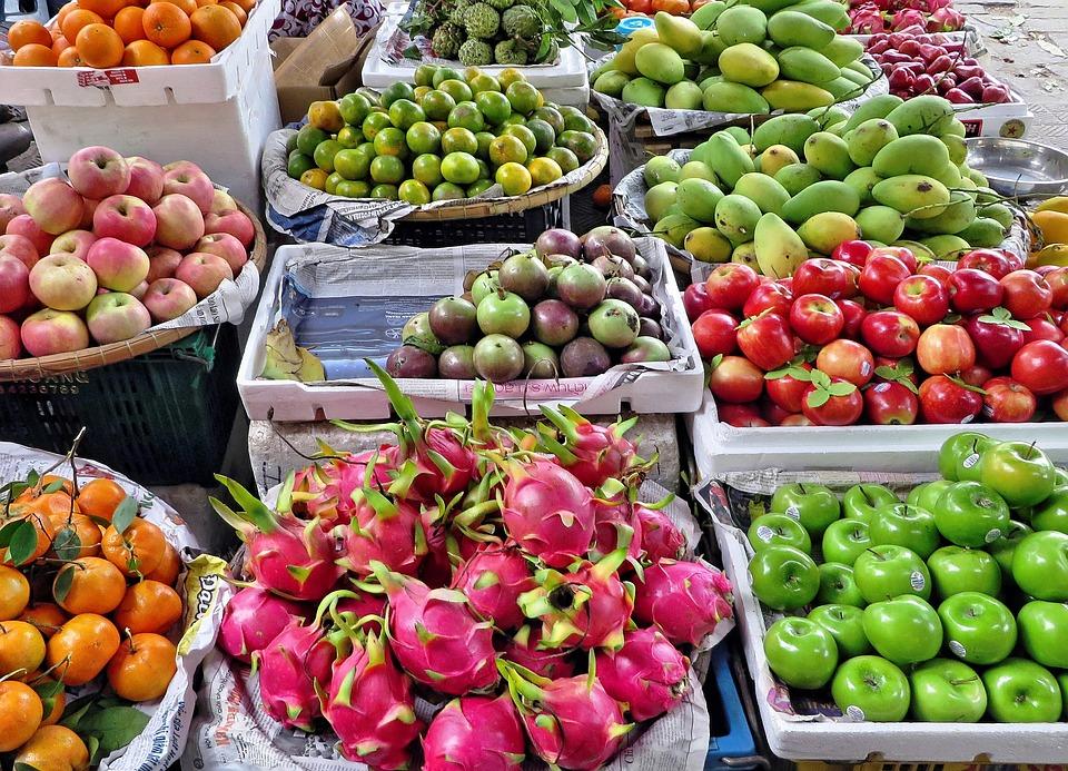 Vietnam, Mercato, Frutta, Verdure, Ed Altri, Esotici