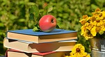 apple, books, garden