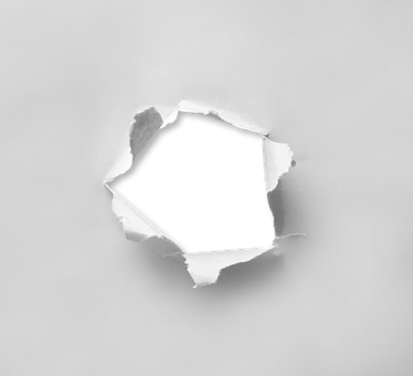 Hole Torn Paper Through Round Circle