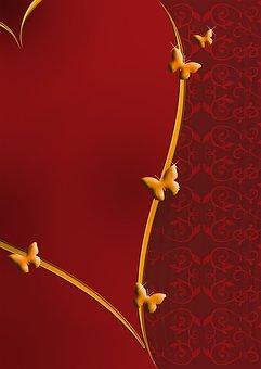 地図, 心, 赤, 金, 愛, バレンタインデー, 背景