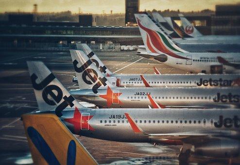 空港, 平面, ジェット スター航空, ジェット, エアバス, 駐機場, 日没