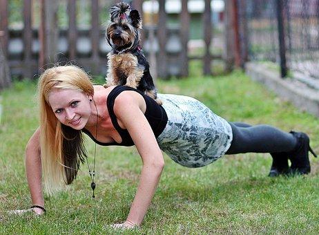Blonde Woman, Yorkie, Dog, Workout