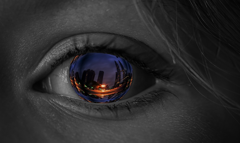 Occhio, Iris, Città, Grattacielo, Sfondo Dello Schermo